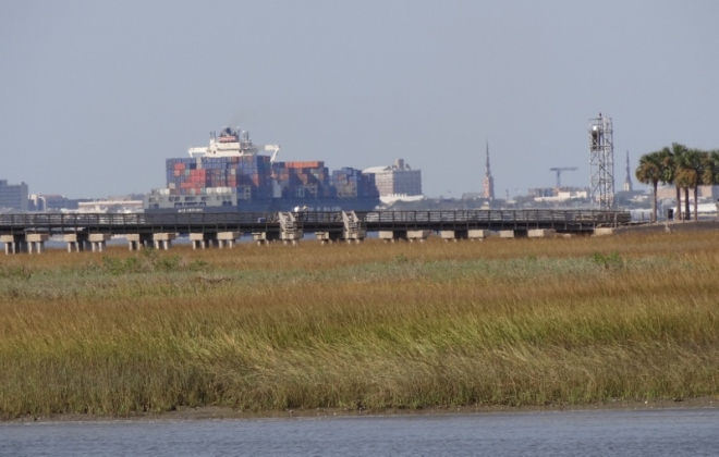 1,100 ft container ship appears to dwarf the buildings in the distance