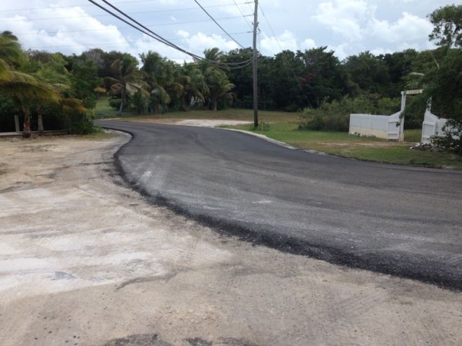 WOW! A newly paved road. Never seen this before in Bahamas