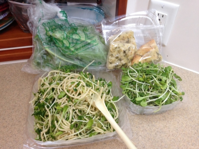 Fresh micro greens from OM Grown- delicious pasta salad with greens, garlic. oil & parm