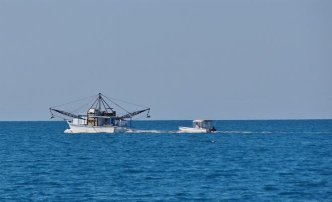 Bahamian fishing trawler as we head to Highbourne